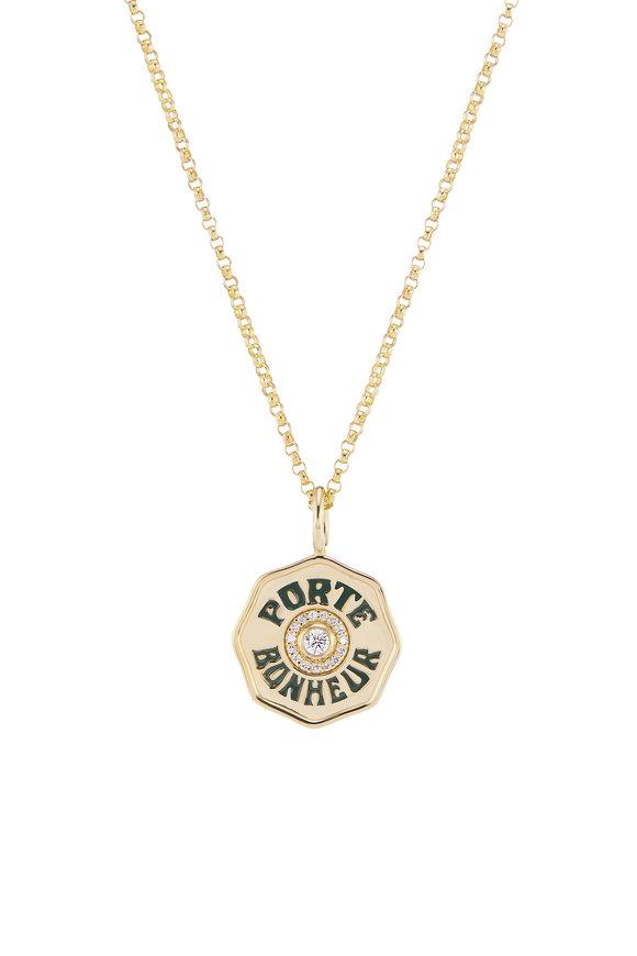 Marlo Laz Yellow Gold Dark Green Enamel Mini Coin Necklace