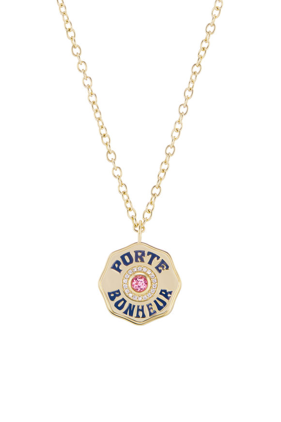 Marlo Laz Yellow Gold Enamel & Pink Tourmaline Coin Necklace