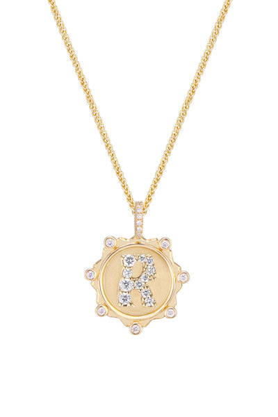 """Marlo Laz - 14K Yellow Gold Pavé Initial """"R"""" Coin Necklace"""