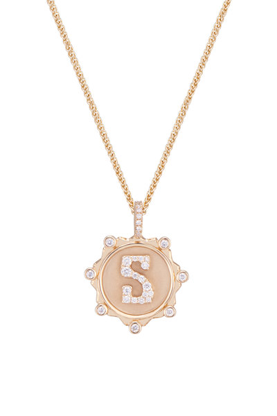 """Marlo Laz - 14K Yellow Gold Pavé Initial """"S"""" Necklace"""
