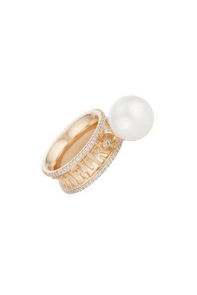 Marlo Laz - 14K Yellow Gold Eternity Diamond & Pearl Ring