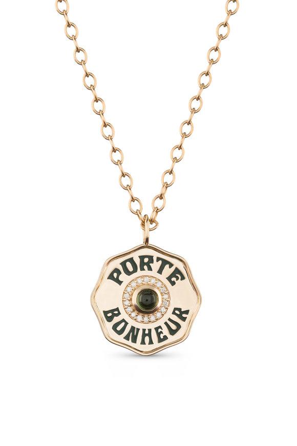 Marlo Laz Enamel & Green Tourmaline Pendant Necklace
