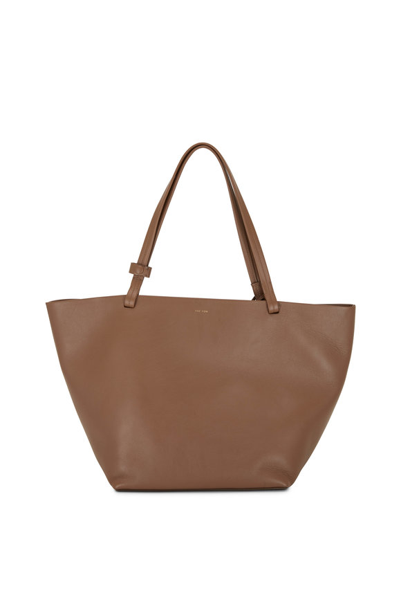 The Row Park Tote Three Mink Smooth Leather Tote
