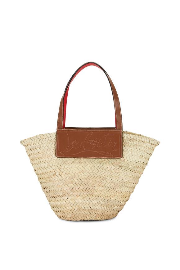 Christian Louboutin Loubishore Natural & Tan Woven Straw Basket Bag