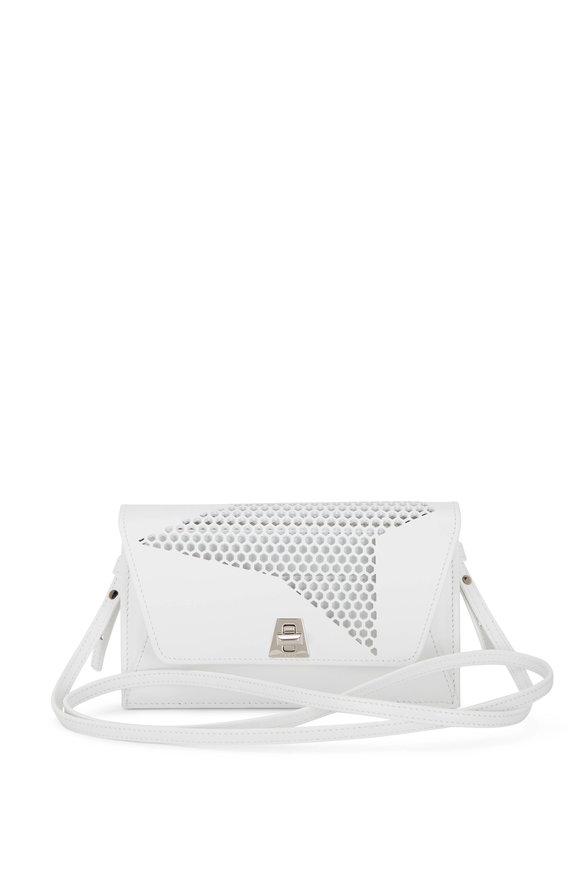 Akris Anouk White Lasercut Leather Envelope Bag