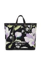 Tom Ford - T Screw Lavender & Black Poppy Print Medium Tote