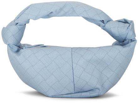 Bottega Veneta Jodie Light Blue Puffy Jacquard Mini Knot Hobo