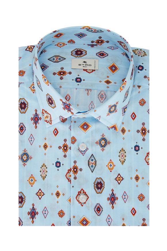 Etro Azure Ikat Print Sport Shirt