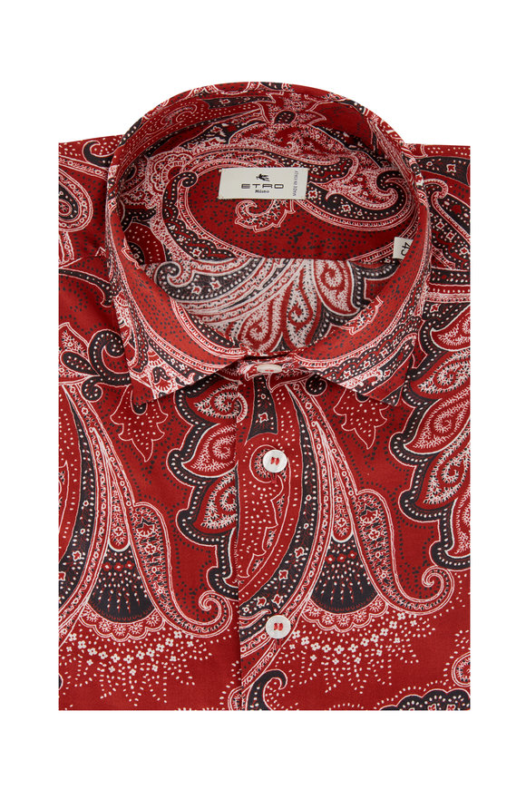 Etro Red Paisley Cotton Sport Shirt