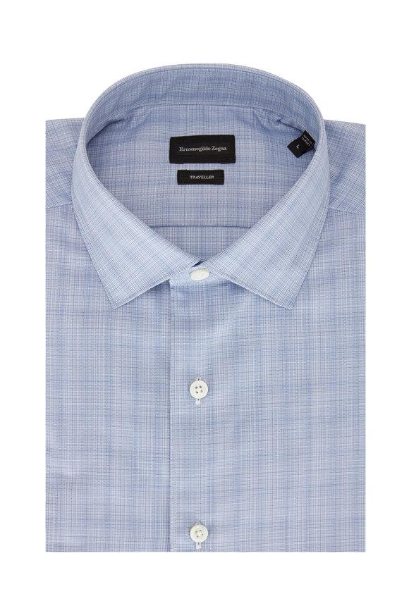 Ermenegildo Zegna Blue Tonal Plaid Sport Shirt