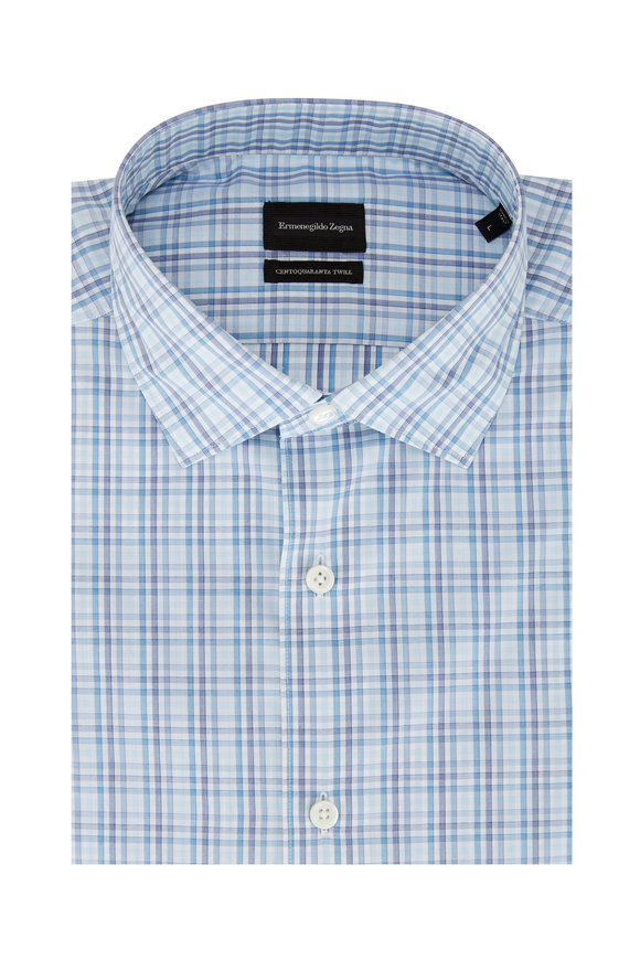 Ermenegildo Zegna Teal Multi Check Twill Sport Shirt