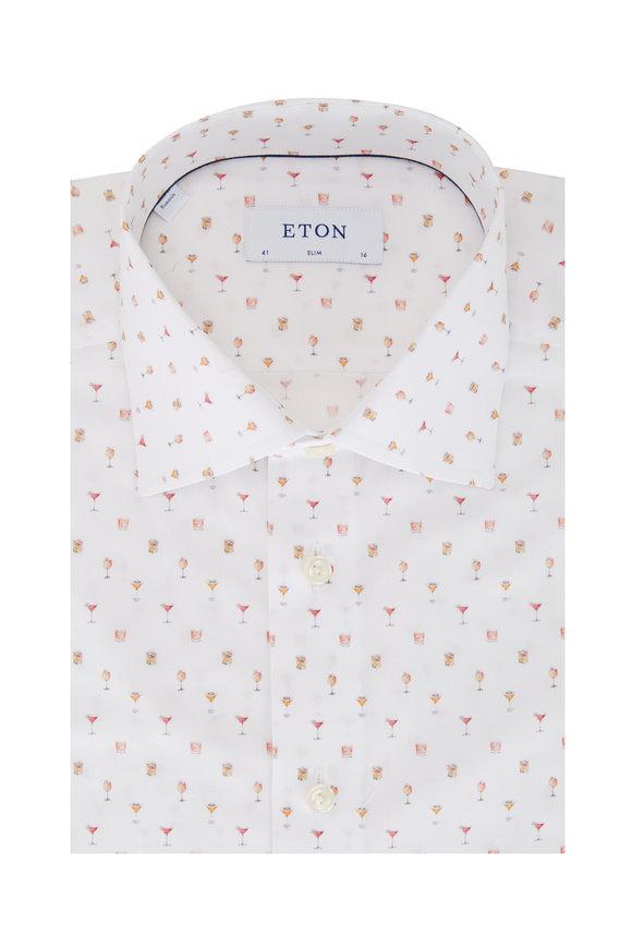 Eton White Cocktail Print Slim Fit Sport Shirt