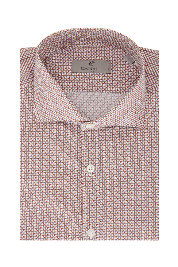 Canali Red & Orange Geometric Print Sport Shirt