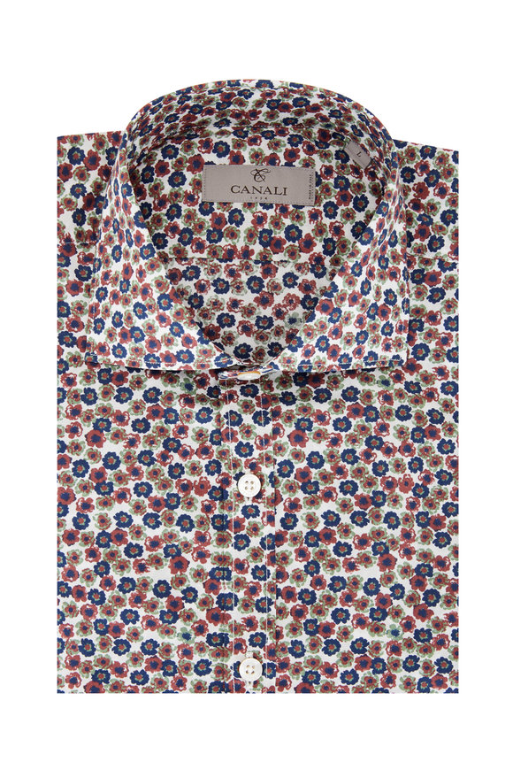 Canali Red & Blue Floral Print Sport Shirt