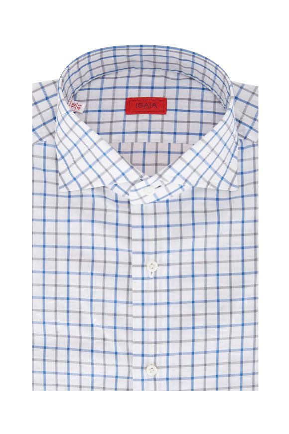 Isaia Blue & Gray Large Check Sport Shirt