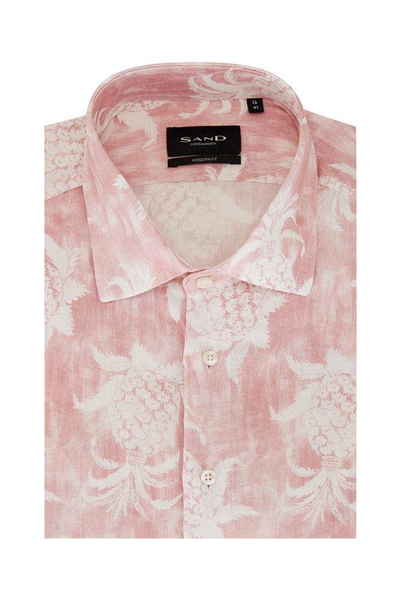 Sand Pink Pineapple Print Short Sleeve Sport Shirt