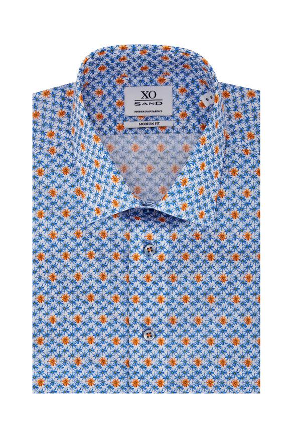 Sand Gordon Blue & Orange Flowers Sport Shirt