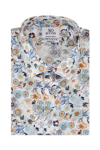 Sand - Gordon Light Blue & Tan Print Sport Shirt