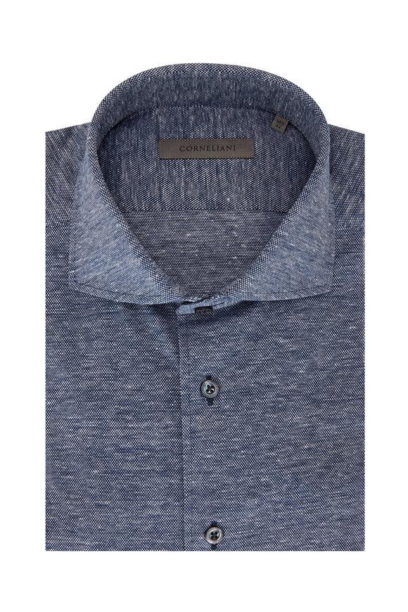 Corneliani Indigo Jersey & Linen Piqué Sport Shirt