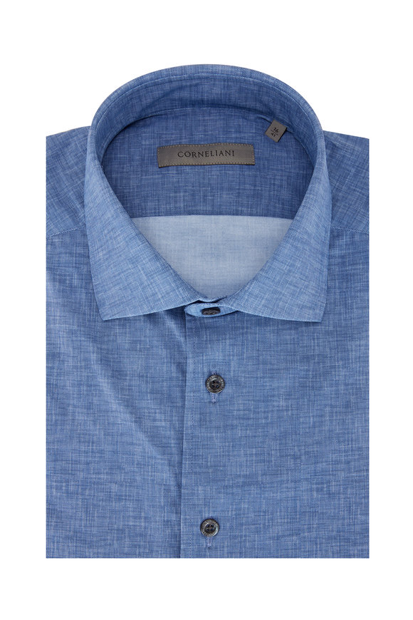Corneliani Blue Mélange Performance Sport Shirt