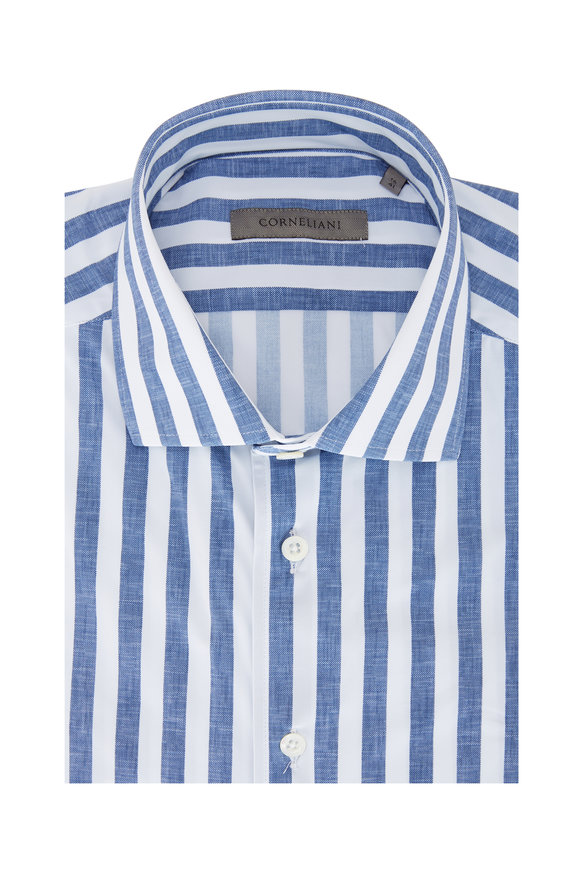Corneliani Blue & White Awning Stripe Jersey Sport Shirt