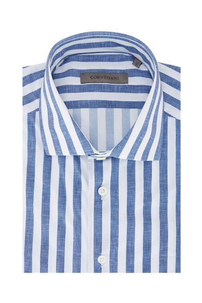 Corneliani - Blue & White Awning Stripe Jersey Sport Shirt
