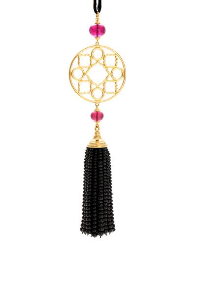 Syna - Rubelite & Black Spinel Mogul Tassel Pendant