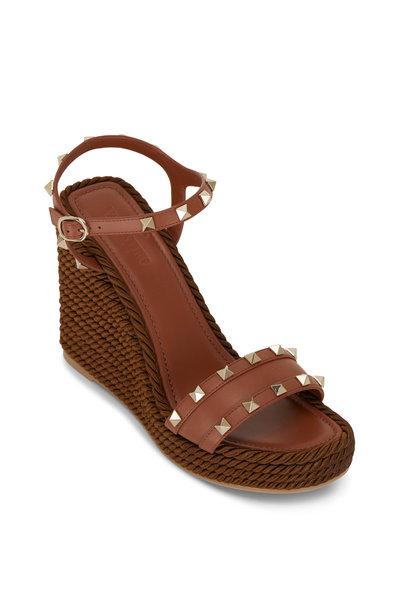 Valentino Garavani - Cognac Leather Ankle Strap Studded Wedge, 60mm