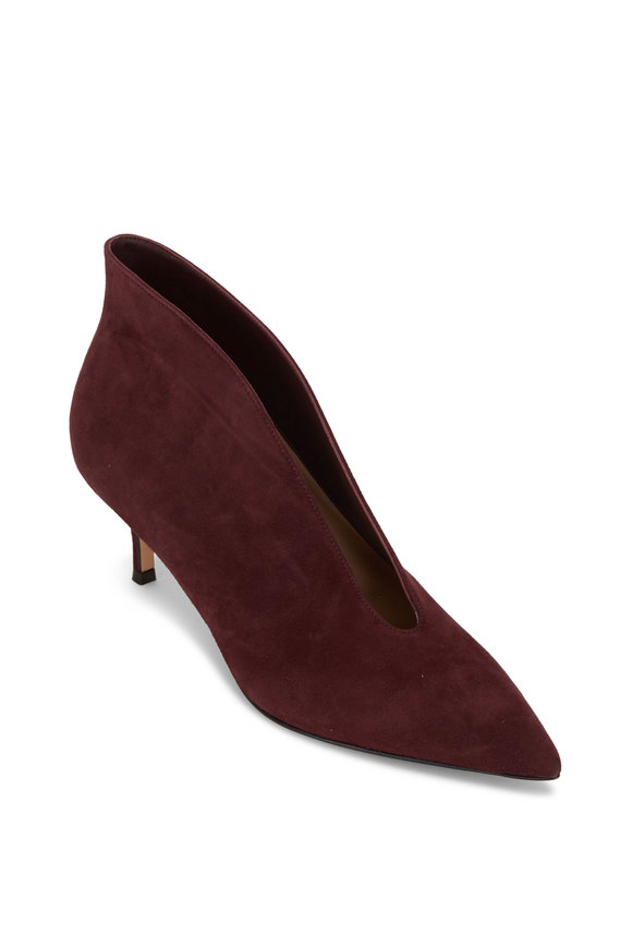 Gianvito Rossi Vania Burgundy Suede V-Neck Ankle Boot, 55mm