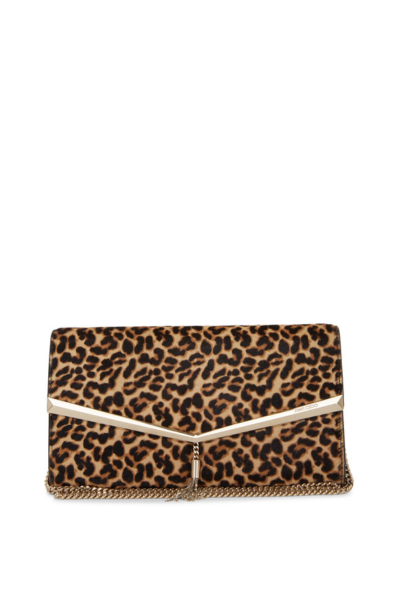 Jimmy Choo Elish Cheetah Print Pony Hair Clutch