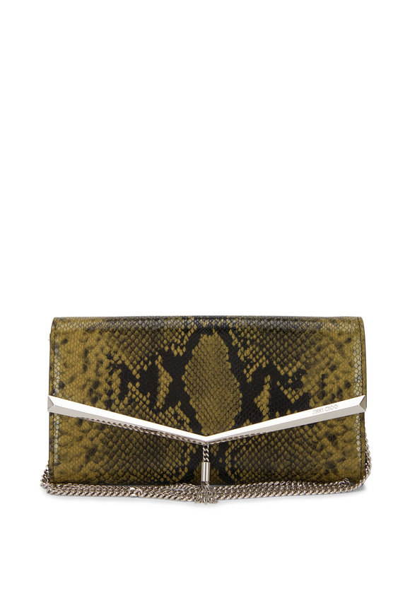 Jimmy Choo Elish Dark Olive Snake Print Leather Clutch