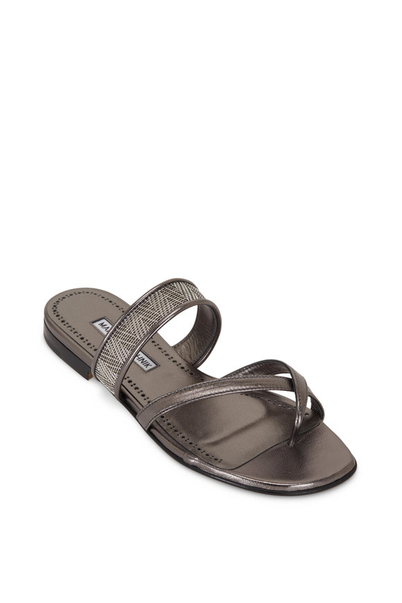 Manolo Blahnik Solidus Anthracite Flat Thong Sandal