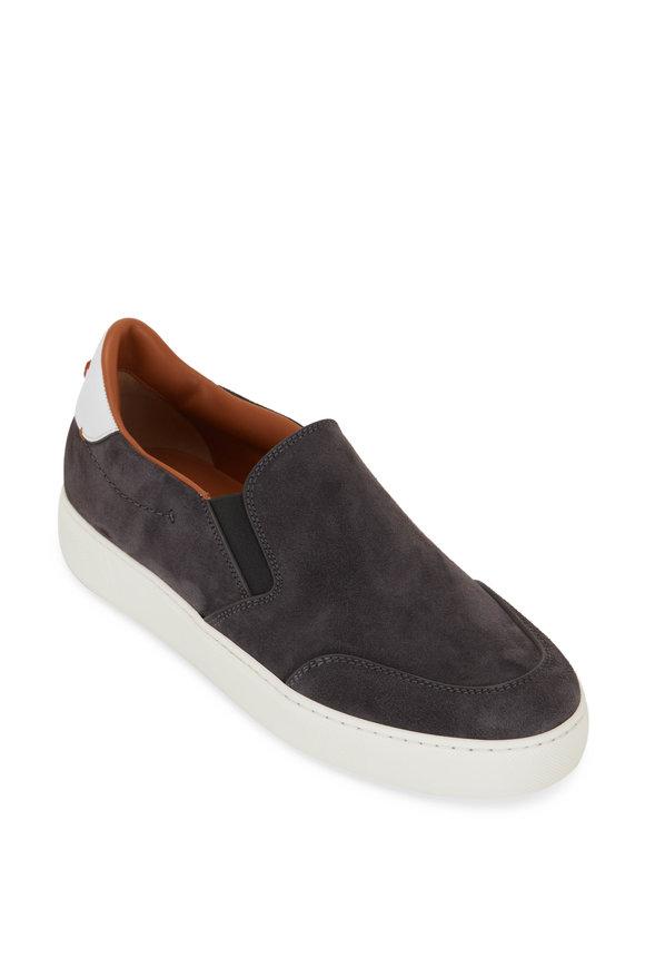 Ermenegildo Zegna Tiziano Gray Suede Slip On Sneaker