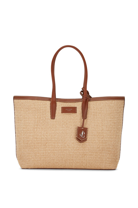 Jimmy Choo Nine2Five Natural & Dark Tan Woven Raffia Tote