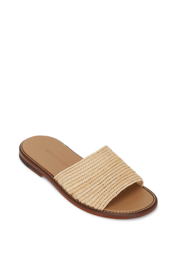 Manolo Blahnik Safina Natural Raffia Slide Sandal