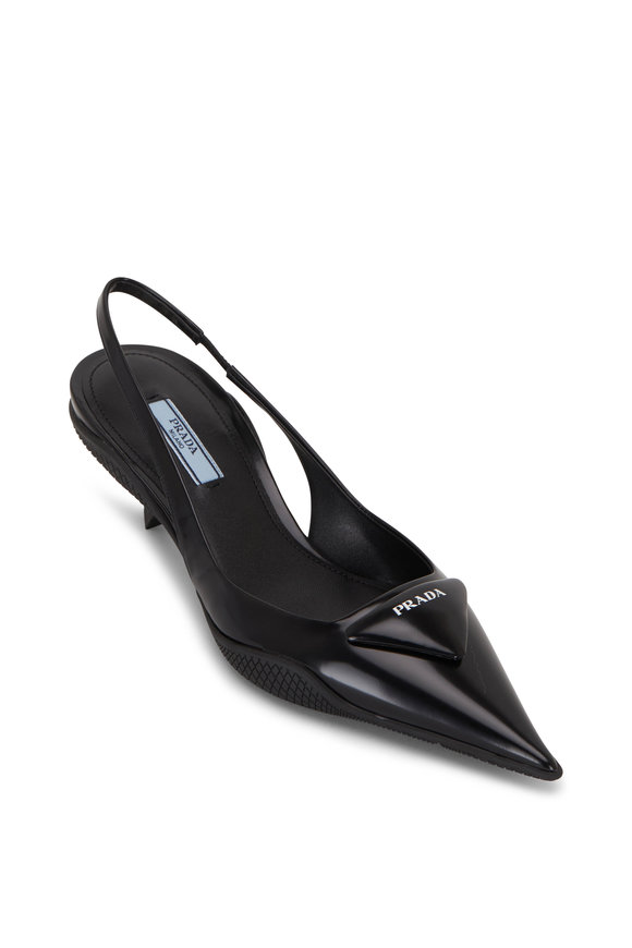 Prada Black Patent Leather Pointed Slingback, 45mm