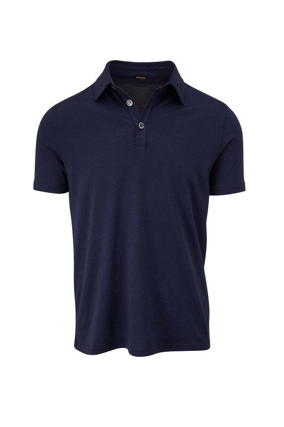 Kiton Navy Cashmere & Cotton Polo