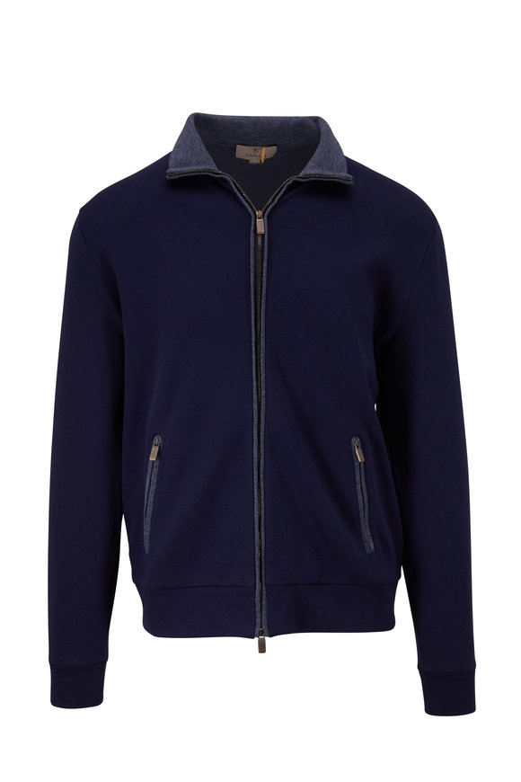 Canali Navy Front Zip Track Jacket