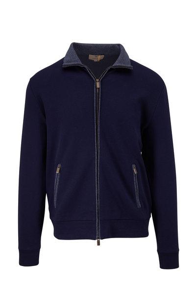 Canali - Navy Front Zip Track Jacket