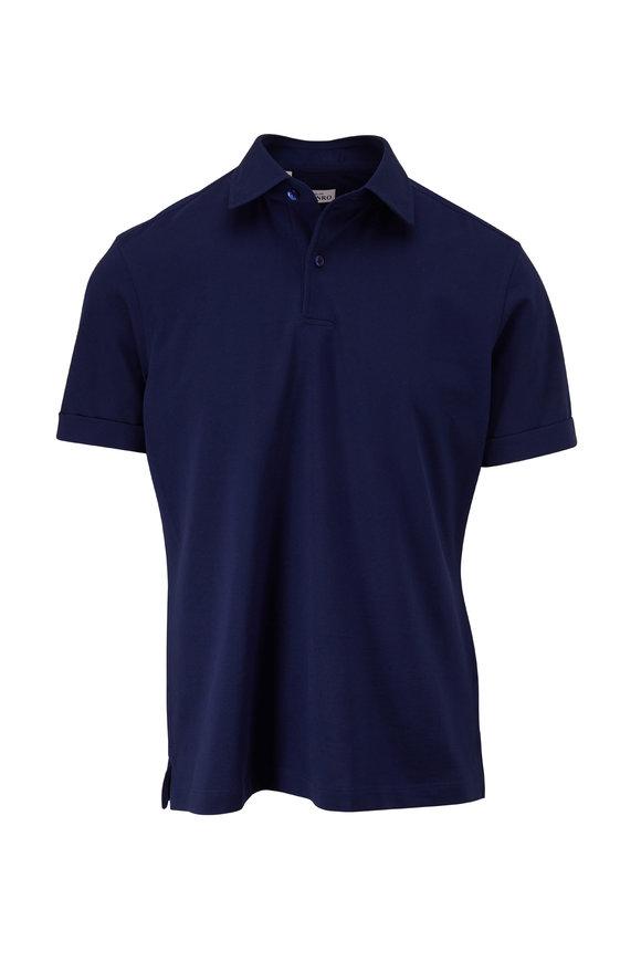 Atelier Munro Royal Blue Piqué Short Sleeve Polo