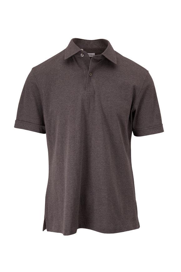 Atelier Munro Smoke Gray Piqué Short Sleeve Polo