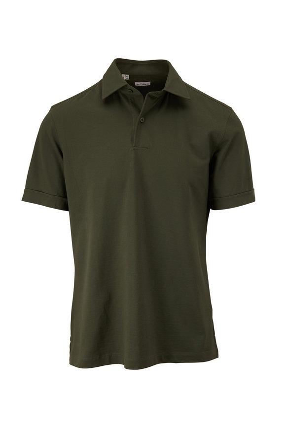Atelier Munro Green Piqueé Short Sleeve Polo