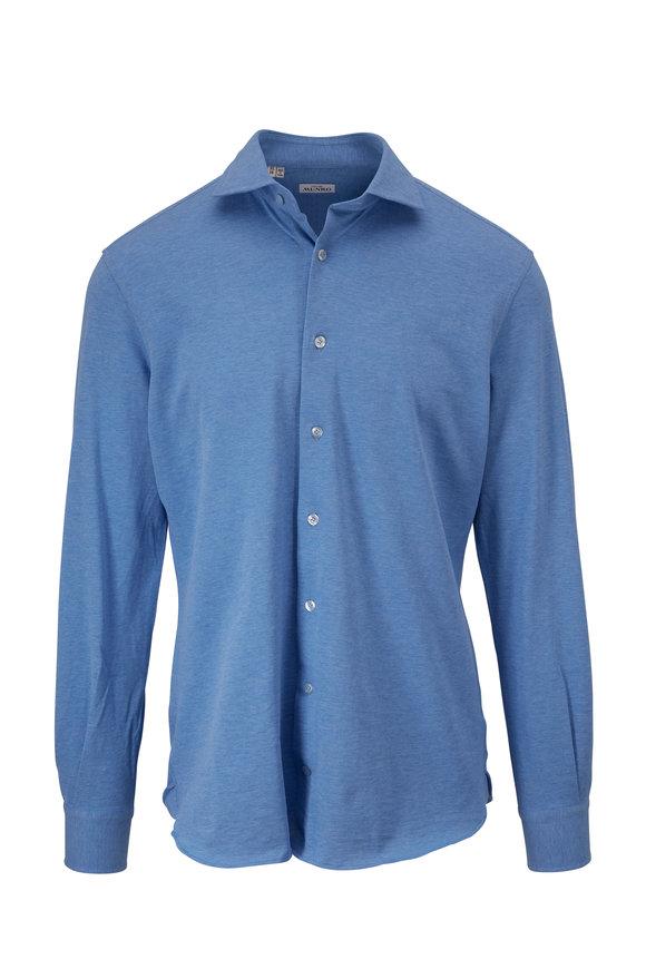 Atelier Munro Blue Mélange Piqué Sport Shirt