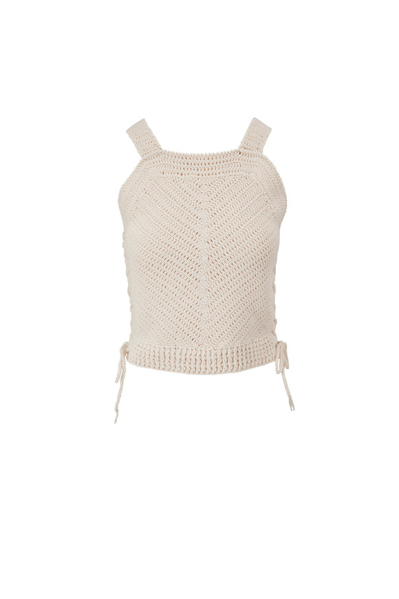 Nili Lotan Violet Ivory Crochet Crop Tank