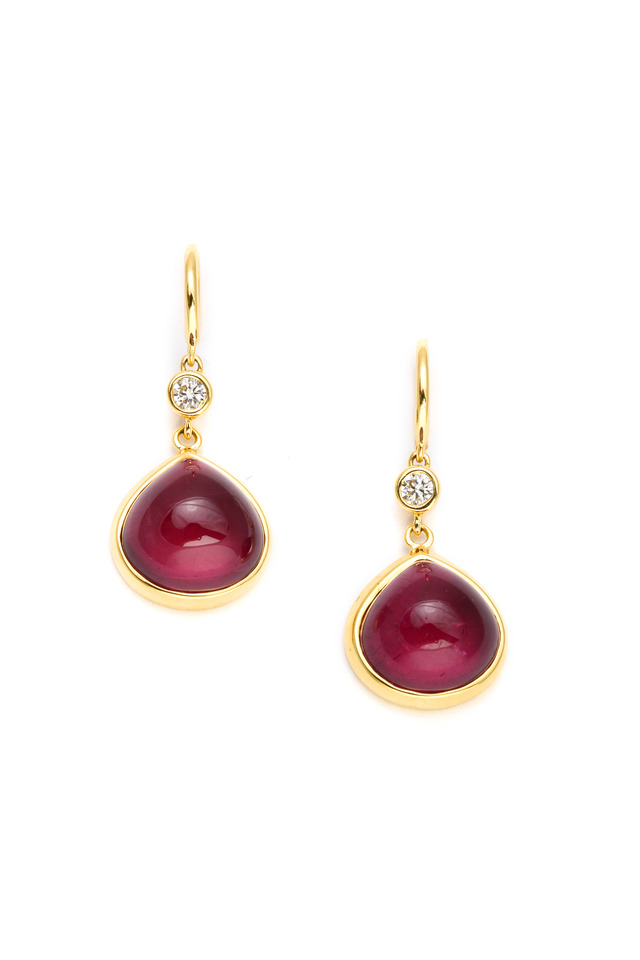Rubelite Diamond Gold Heart Earrings