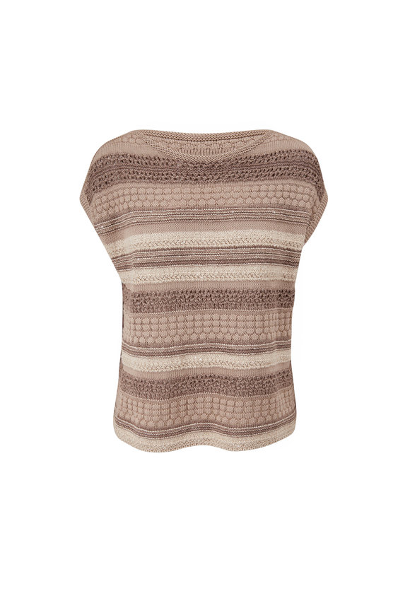 Lafayette 148 New York Smoked Taupe Multi Mixed Stitch Boatneck Sweater