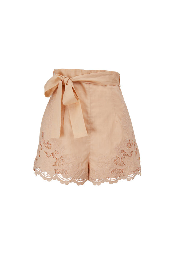Zimmermann Brighton Taupe Embroidered Cotton Scallop Shorts