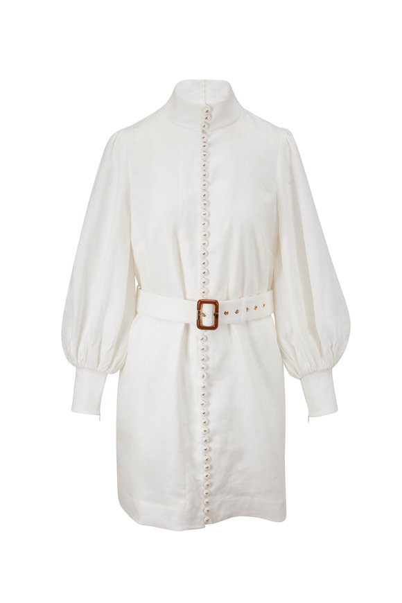 Zimmermann Luminous Ivory Mixed Ribbon Long Sleeve Mini Dress