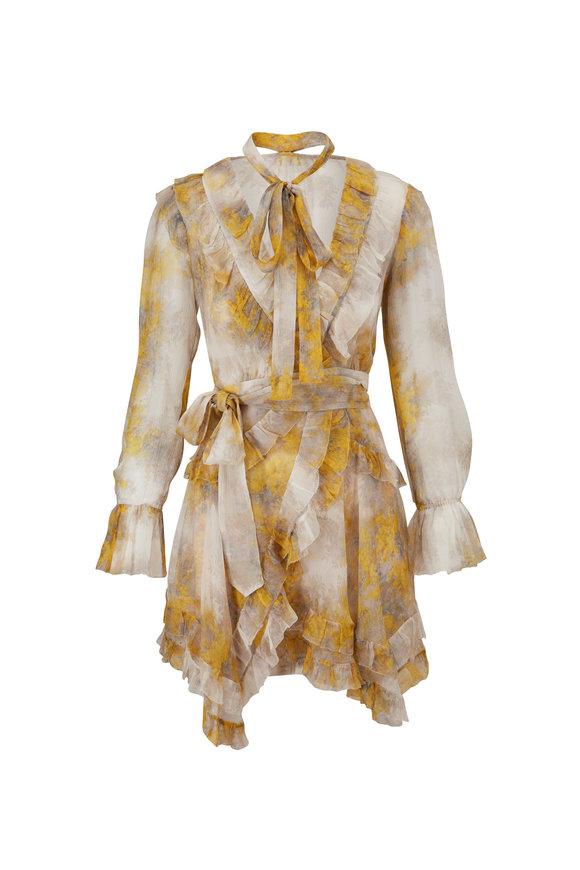 Zimmermann Botanica Yellow Wattle Print Frill Wrap Dress