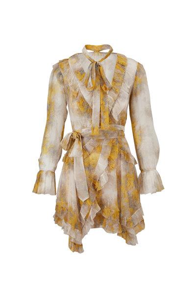 Zimmermann - Botanica Yellow Wattle Print Frill Wrap Dress